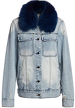 AVA & KRIS Women's Jane Removable Fox Fur Collar Denim Jacket