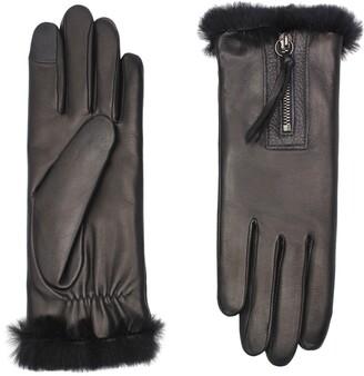 Agnelle Marina Genuine Rabbit Fur Lined Lambskin Leather Gloves
