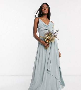TFNC Maternity bridesmaid cowl neck cami strap maxi dress with train in sage