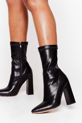 Nasty Gal Womens Snake My Heart Away Faux Leather Heeled Boots - Black - 3