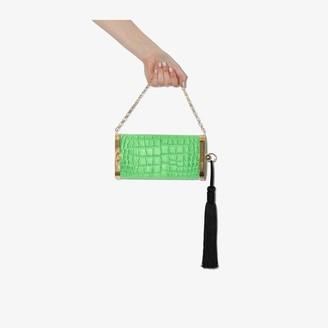 Bienen Davis Green mock croc embossed leather clutch bag