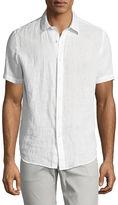 Theory Clark Instrumental Linen Short-Sleeve Shirt