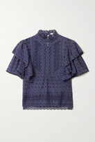 Thumbnail for your product : Etoile Isabel Marant Tizaina Ruffled Broderie Anglaise Cotton Blouse - Gray