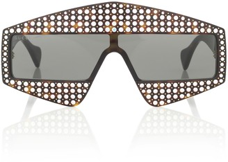 Gucci Embellished rectangular sunglasses
