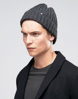Ps By Paul Smith Wool Ribbed Beanie In Grey