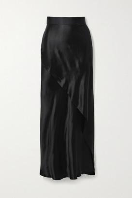 The Range - Wrap-effect Satin Maxi Skirt - Black