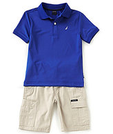 Nautica Little Boys 2T-7 Solid Short-Sleeve Polo Shirt & Cargo Shorts Set