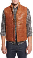Billy Reid Quilted Leather Vest, Tobacco