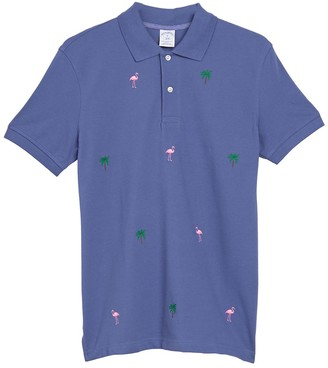 Brooks Brothers Yarn Dyed Pique Tropical Flamingo Embroidered Polo