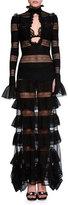 Alexander McQueen Long-Sleeve Tiered Ruffle High-Neck Gown, Black