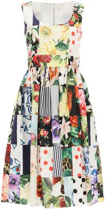 Dolce & Gabbana PATCHWORK MIDI DRESS IN POPLIN 40 Red, White, Yellow Cotton