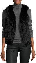 525 America Hooded Rabbit Fur Vest, Black