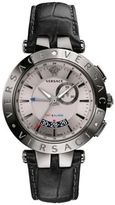 Versace V-Race GMT Alarm Stainless Steel & Leather Strap Watch