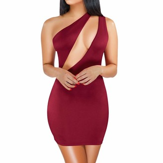 LEXUPE Women Comfortable Sexy Dresses Casual Fashion Summer Skirts Ladies One-Shoulder Hollow Out Sleeveless Solid Slim Club Mini Dress(Green XL)