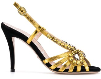 Gucci crystal-embroidery metallic sandals
