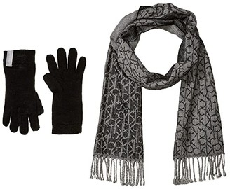 Calvin Klein Two-Piece Woven Border Scarf and Knit Touch Gloves (Black) Scarves