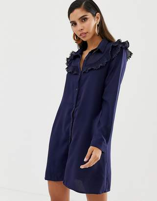 Liquorish shirt dress with ruffle bib detail