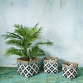 Graham and Green Set Of Three Black And White Square Baskets