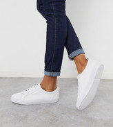 Asos Design DESIGN Wide Fit Dunn lace up sneakers in white