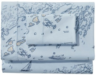 L.L. Bean Nautical Map Percale Sheet Collection