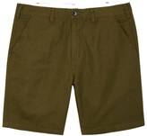 Ps By Paul Smith Olive Straight-leg Linen Blend Shorts