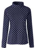 Lands' End Women's 100 Petite Everyday Fleece Mock Pullover-Ivory Dots