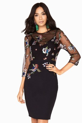 Little Mistress Hallie Sequin Embroidered Pencil Dress
