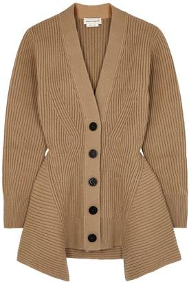 Alexander McQueen Camel Ribbed Wool-blend Cardigan