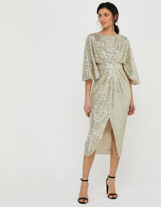 Under Armour Sophia Sequin Cape Sleeve Midi Dress Gold