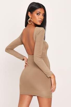 I SAW IT FIRST Taupe Double Layer Slinky Open Back Mini Dress