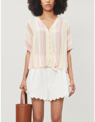 Rails Thea knotted striped woven shirt