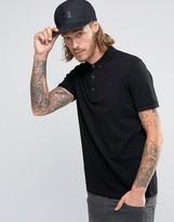 Asos Polo Shirt In Black Pique With Button Down Collar With Logo