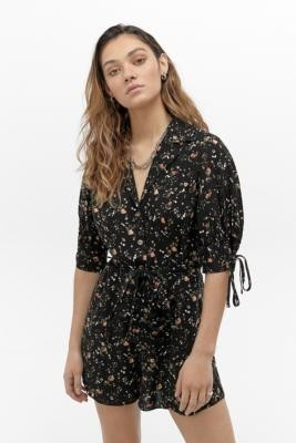 Urban Outfitters Alice Floral Button-Through Playsuit - Black XS at