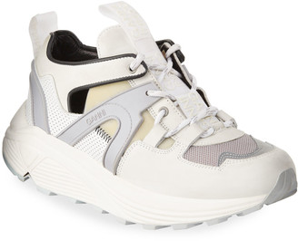 Ganni Tech Runner Leather Cutout Sneakers