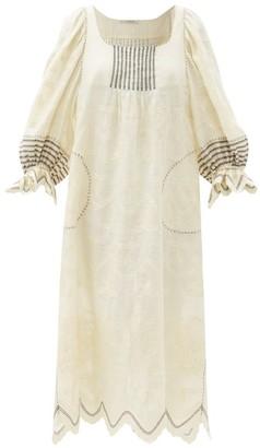 Vita Kin Gloria Balloon-sleeve Linen Midi Dress - Cream