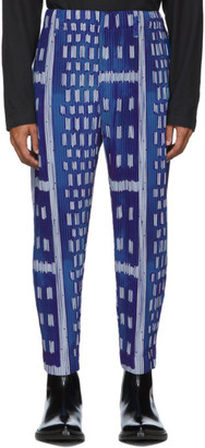 Homme Plissé Issey Miyake Blue Ikat Pleated Trousers