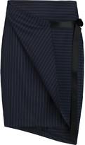 DKNY Pinstriped stretch wool-blend crepe mini skirt