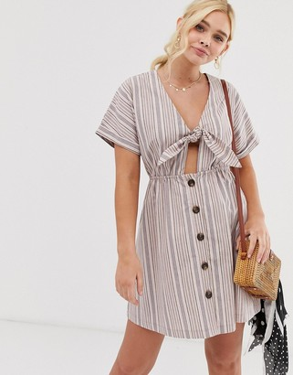 Gilli button down mini dress with tie front detail in stripe-Pink
