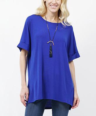 Lydiane Women's Tunics DENIMBLUE - Denim Blue Crewneck Roll-Cuff Side-Slit Top - Women