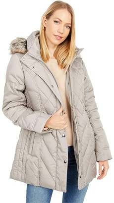 London Fog Short Quilted Puffer Coat w/ Faux Fur Hood (Black) Women's Coat