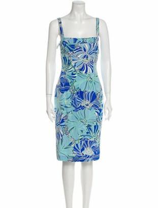 Dolce & Gabbana Silk Midi Length Dress Blue