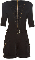 Balmain Lace-up cargo-pockets playsuit
