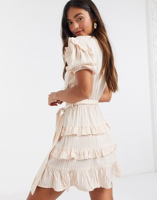 Influence ruffle detail tiered mini dress in natural stripe