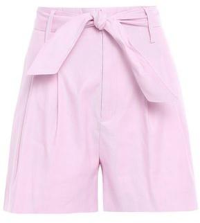 Joie Kaylei Belted Linen-blend Twill Shorts