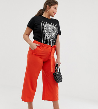 Lost Ink Plus Cropped Wide Leg Pants With Tie Waist
