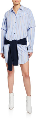 Derek Lam 10 Crosby Striped Long-Sleeve Combo Shirt Dress with Knit Waist Tie