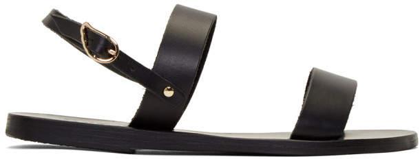 Ancient Greek Sandals Black Leather Clio Sandals