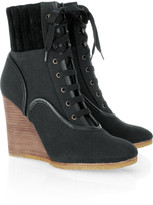 Chloé Mountain canvas and suede wedge boots