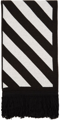 Off-White Black and White Knit Diag Scarf