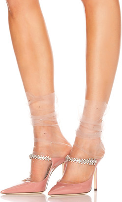 BEIGE Pan & The Dream Ghost Italian Nylon Tulle Socks in & Rose Gold Faceted Crystals | FWRD